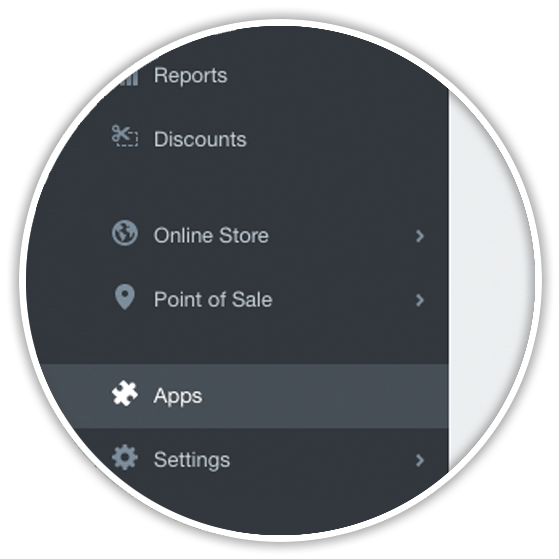 shopify left sidebar app menu item