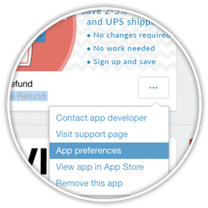 quick links within shopify app