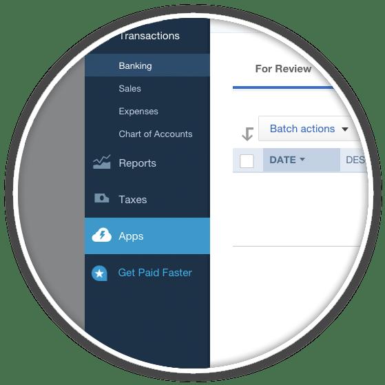 quickbooks left sidebar apps menu item