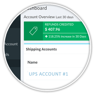 share a refund dashboard showing ups account