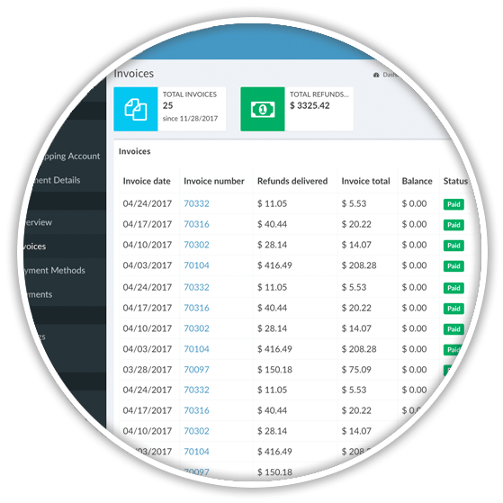 invoice list view in Share a Refund
